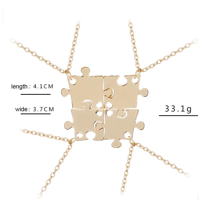 Женский набор для 4 семьи цепочка с кулоном пазлом Ожерелье