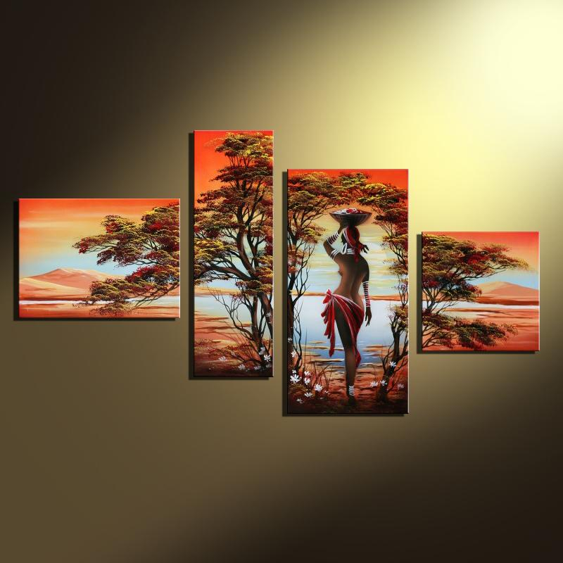 Afrikansk moderne abstrakt oljemaleri Naken Sexy Naken Women Tree On Canvas 4 Panel Art Set Hjemvegg Dekorativ For Stue