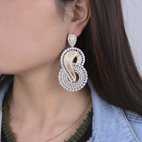 Fashion Number 8 Shape Bridal Big Earrings For Engagement Full Cubic Zirconia Inlaid Dangle Drop Earrings Statement Jewelry