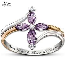 Wedding rings Red/blue zircon ring AAA Zircon Crystal Vintage Gold-Color Cross Ring Women Finger Luxury Bijoux A30