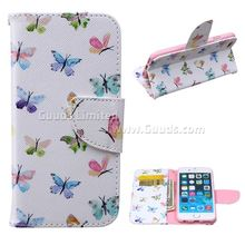 For iphone6 case Colored Butterflies Leather Wallet Case for iPhone 6 4 7 inch FREE SHIPPING