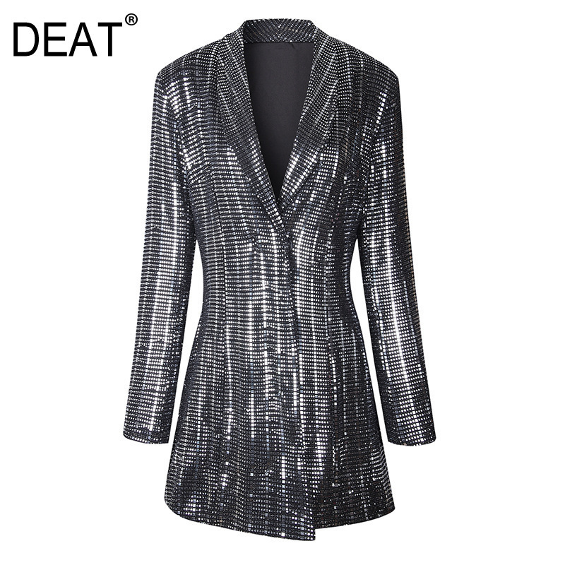 DEAT 2019 New Turn down Collar Full Sleeves Sequins High Waist Covered Button Jacket Slim OL