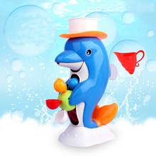 Kids Shower Bath Toys Cute Duck Waterwheel Dolphin Toys Baby Faucet Bathing Water Spraying Tool Wheel Type Dabbling Toy with box