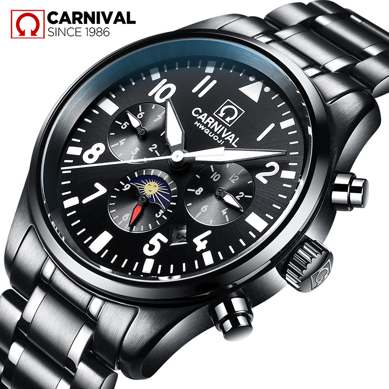 Carnival Watch Men Automatic Mechanical Phases moon Luminous All Black Stainless Steel Waterproof multifunction Watches