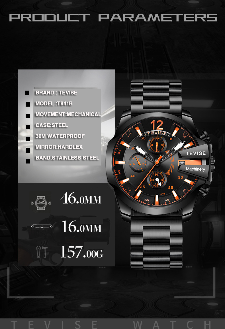 TEVISE Watches Watch Male 6