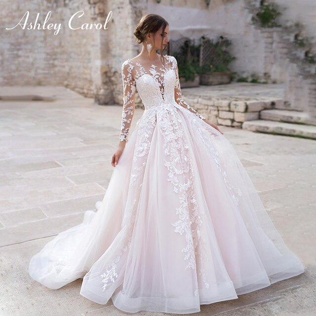Ashley Carol Long Sleeve Princess Wedding Dress 2021 Tulle Bride Dresses Chapel Train Appliques Bridal Gowns Vestido De Noiva 1