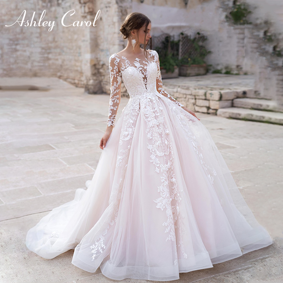 Ashley Carol Long Sleeve Princess Wedding Dress 2020 Tulle Bride Dress Chapel Train Appliques Wedding Gowns Vestido De Noiva
