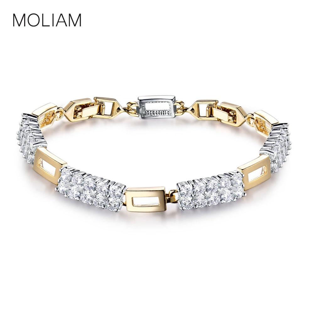 Moliam 2016 أزياء العلامة التجارية ربط سلسلة سوار المرأة كريستال الزركون اليد الإسورة بيان مجوهرات MLL149