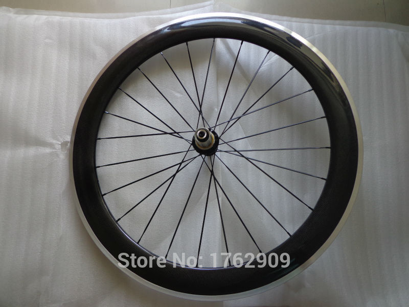 1pcs New 700C 60mm clincher rim Track Fixed Gear Road bike carbon bicycle wheelset with alloy brake surface aero spoke Free ship