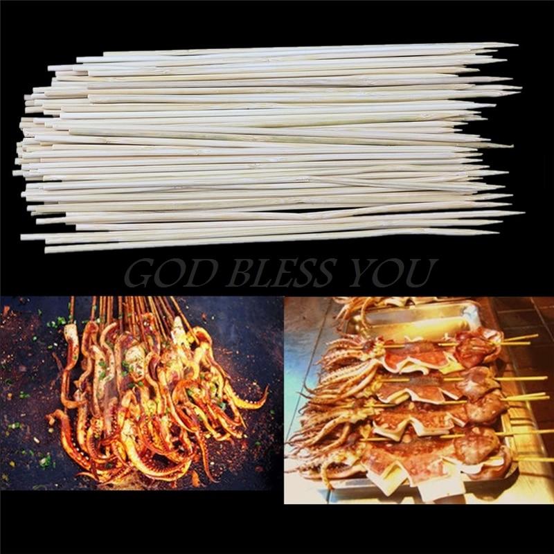 1 PAK Bamboo Spiesjes Grill Shish Kabob Hout Sticks Barbecue BBQ Gereedschap