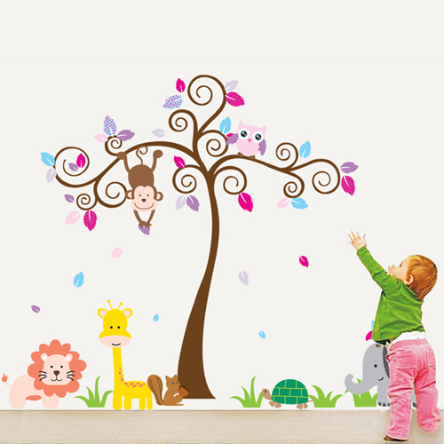 Owls Jungle Animals Wooden Bedroom Furniture Kids: Aliexpress.com : Buy 1 Set 58*75 Inch Removable PVC Decals