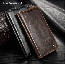 Luxury CaseMe Brand Phone Case for Sony Xperia Z3 Magnetic Auto Flip Wallet Cover for Sony Xperia Z3 + Screen Protector