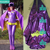 Free Shipping Actual Purple Batgirl Costumes With Cape For Halloween Shiny Girl Womanb Zentai Catsuit Cosplay