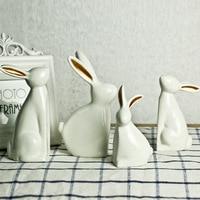 Animal Creative Four piece set of Rabbit Scandinavian Ceramics Handicrafts Home soft adornment TV Wine Cabinet Couple gift