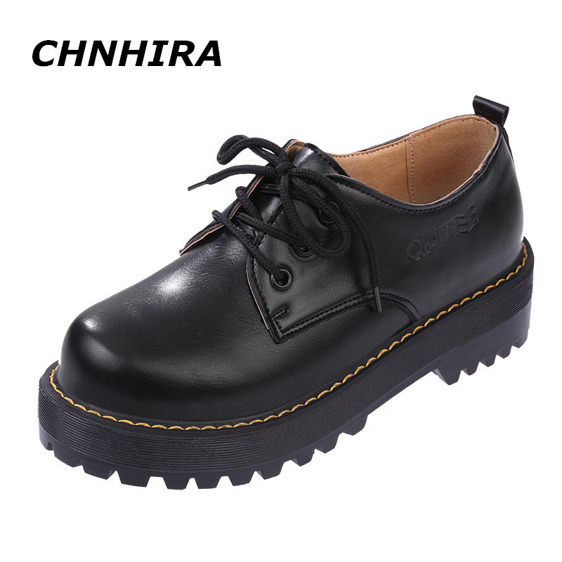цены  CHNHIRA British Style Women Oxfords New Spring Winter Lace-Up Flats Round Toe Creepers Casual Ladies Platform Shoes Woman#CH103