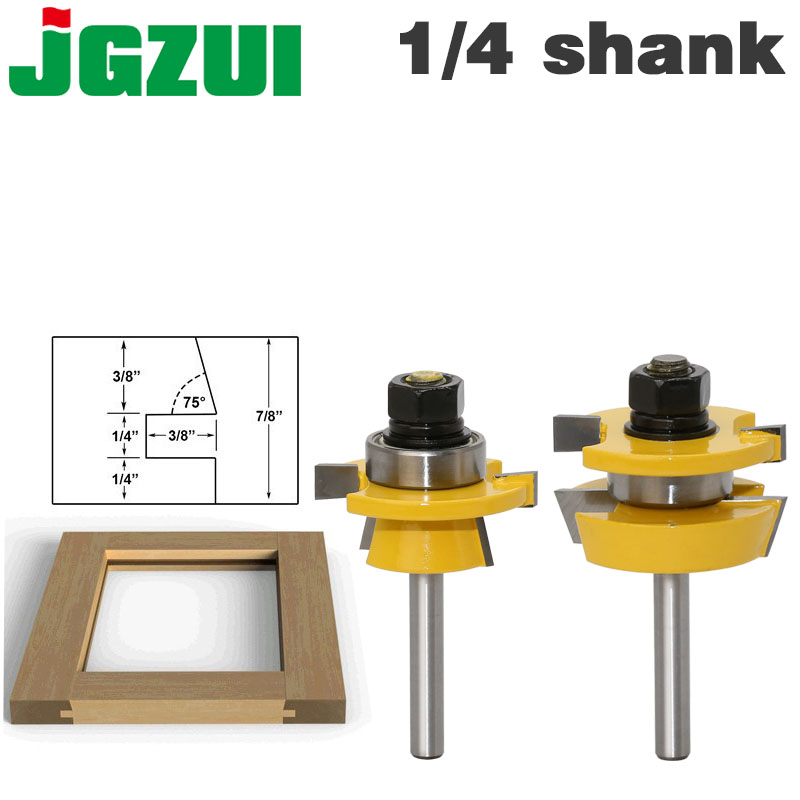 цена на Rail & Stile Router Bit Set - Shaker 2 Pc. 1/4 Shank door knife Woodworking cutter Tenon Cutter for Woodworking Tools