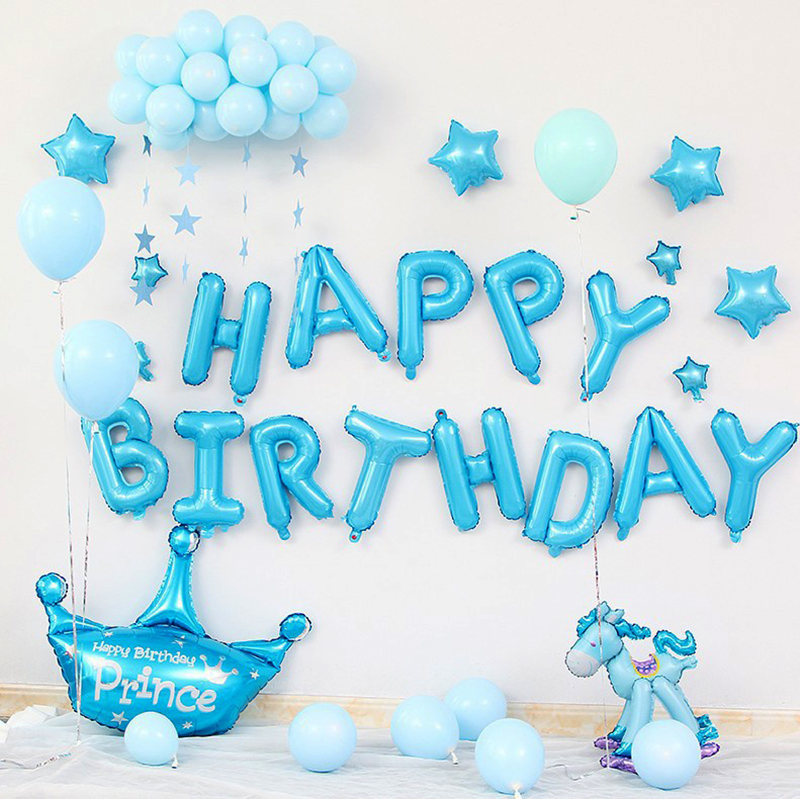 Happy Birthday Balloons Set Cartoon Unitorn Foil Letter Inflatable Balloons Birthday Party Decorations Supplies 16 Inches