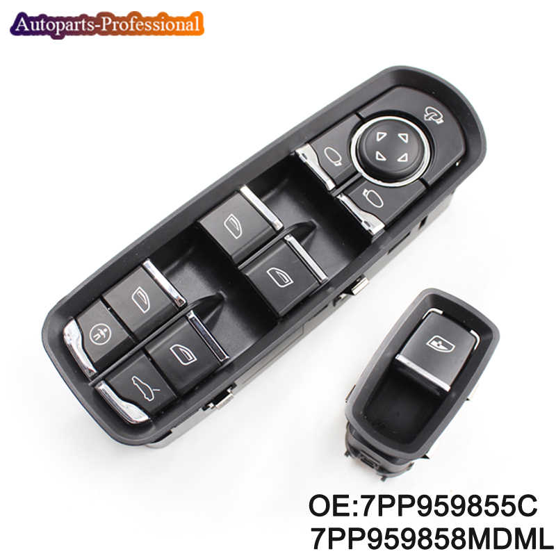 цена на New 1 button +1 switch 7PP959855C 7PP959858MDML Electric Power Window Control Switch For Porsche Panamera Cayenne