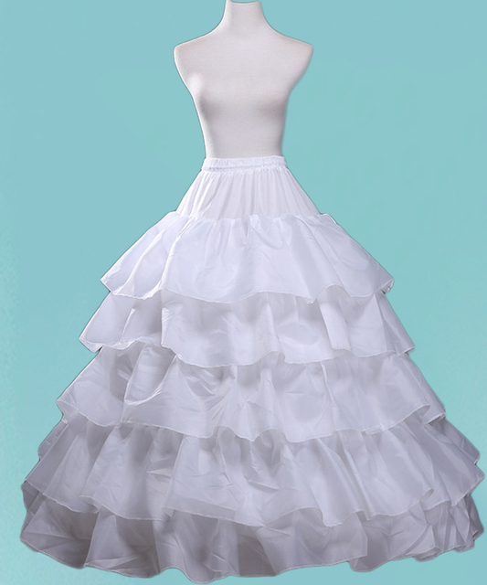 White Petticoat for Women Puffy Ball Gown 5 Hoop Ruffles Crinoline ...