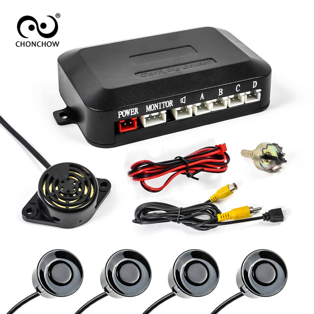 Car Auto Parktronic  Parking Sensor With 4 Sensors buzzer Reverse Backup Car Parking Radar Monitor Detector System Free Shipping