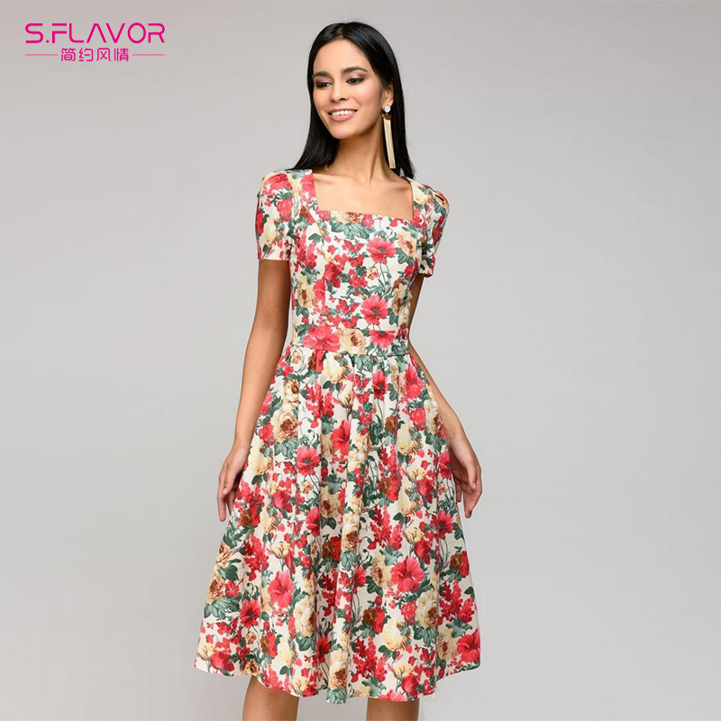 2823fb2b4b36 Φορέματα Women Vintage Summer Dress 2018 Casual Square Collar A-line Print  Dress Elegant Party Vestidos Bohemian style women sexy dress