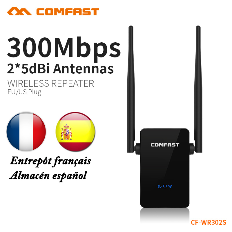COMFAST 300Mbps Wifi Repeater Router 2.4GHz Wifi Signal Extender English Firmware Wi-fi Amplifier EU US Plug Mini Router