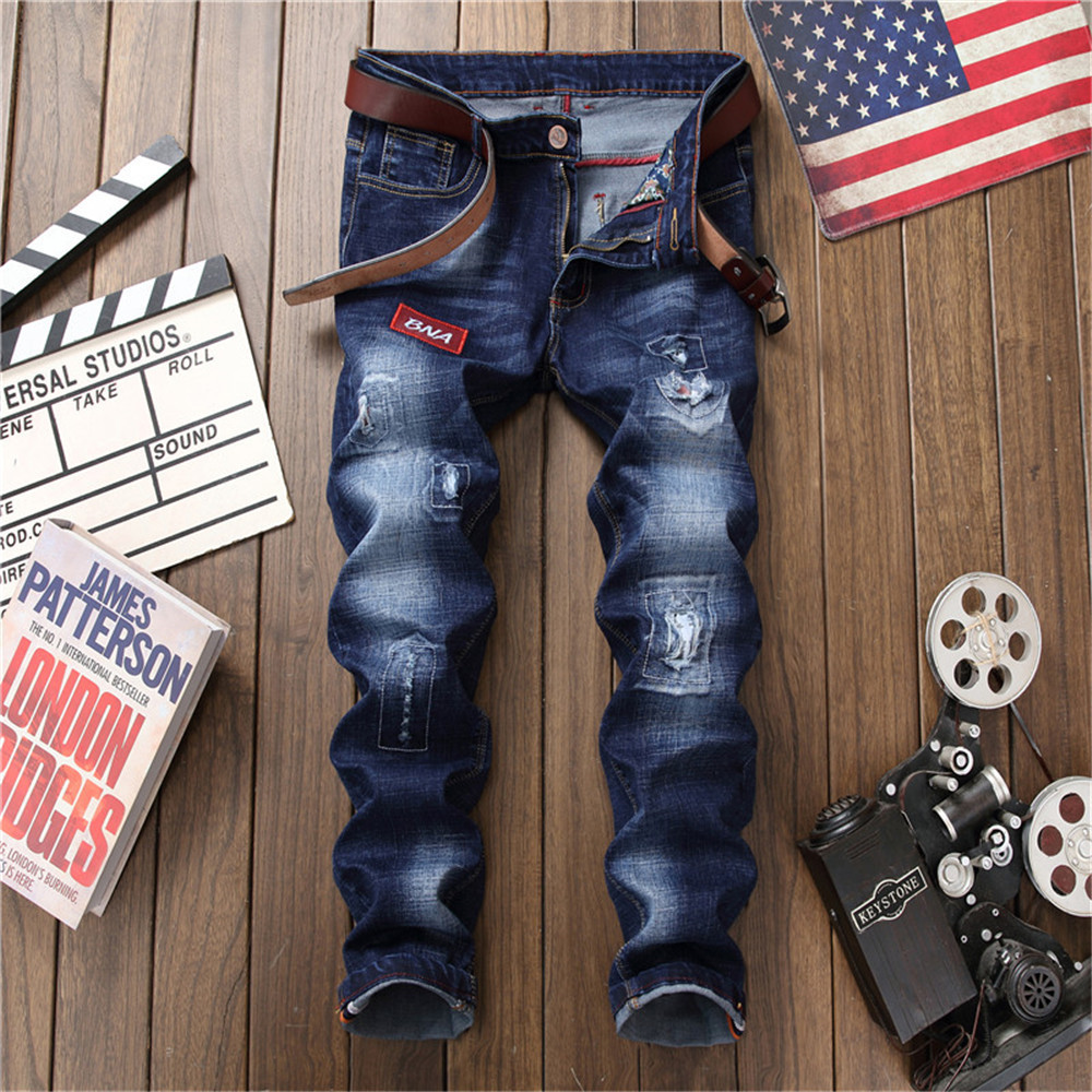 Jeans men 2018 spring skinny jeans men ripped jeans for mens joggers distressed England style mid waist straight full length