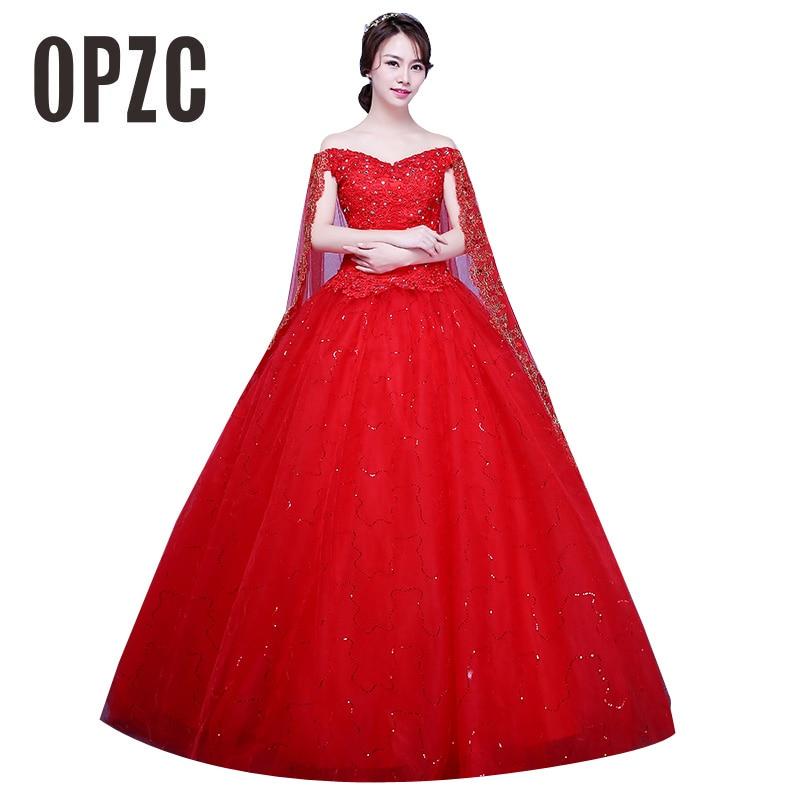 Red White Train VintageWedding Dress 2017 Vestidos De Novia Elegant Boat Neck Lace Gown Appliques Flower Veil Simple Princess