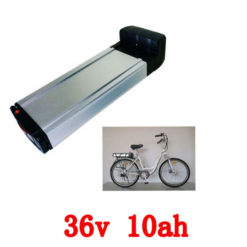 Electric bike battery 36v 10ah rear rack lithium ion battery pack for ebike with BMS and controller box 48v lithium ion battery silver fish case electric bike battery 48v 10ah ebike li ion battery with 2a charger