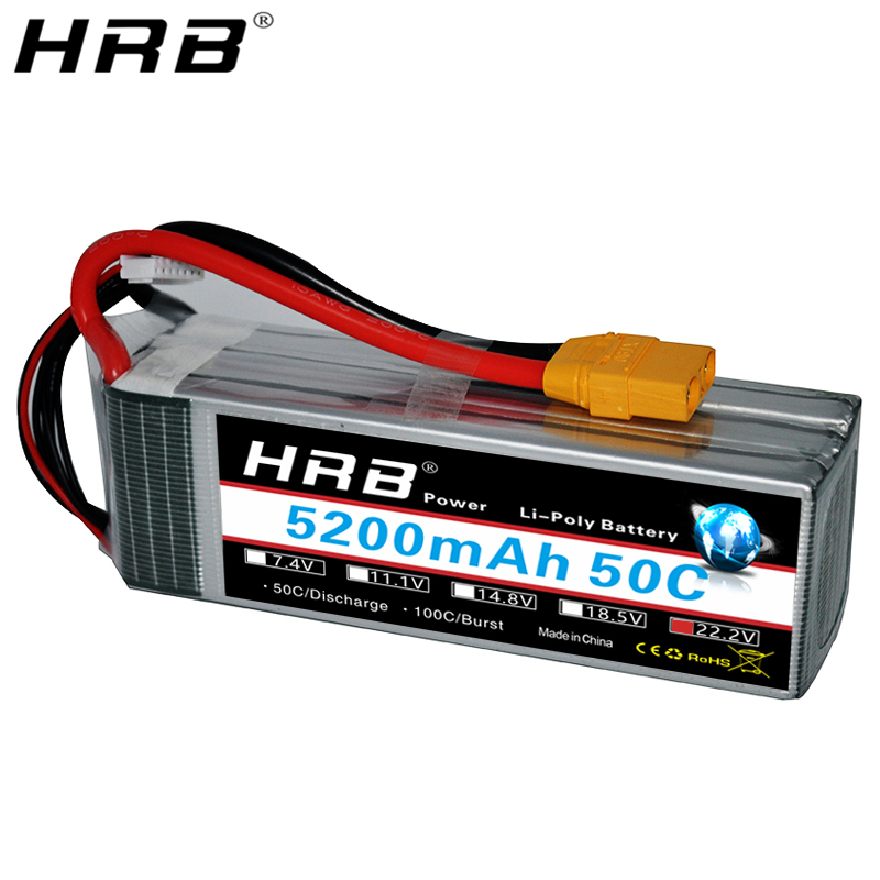 HRB <font><b>Lipo</b></font> <font><b>6S</b></font> Battery 22.2V <font><b>5200mah</b></font> XT90 T Deans XT60 EC5 TRX Plug 50C For RC FPV Heli Airplanes Buggy Cars Truck Bait Boats Parts image
