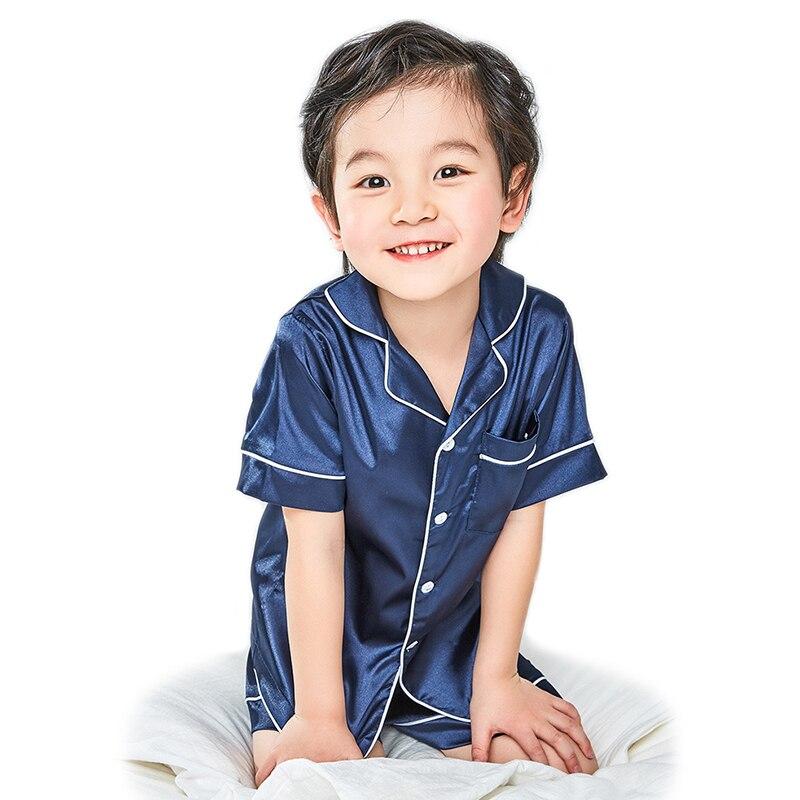 Children Silk Pajamas Summer Pajamas For Girls Kids Pyjamas Softy Boys Sleepwear Baby Clothing Kids Pajama Set 4