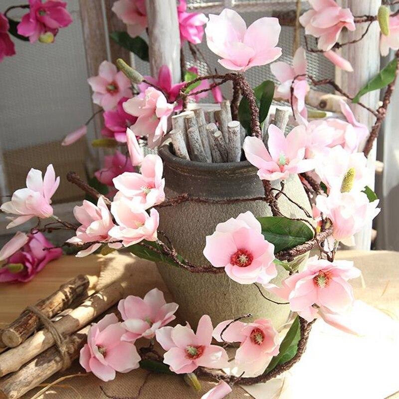 10 Pcs Aritificial Guirlanda Videira Magnolia Flor Galhos de Árvores Parede Orquídea Orquídea Flores De Seda Decoração Do Casamento Da Videira Videiras - 4