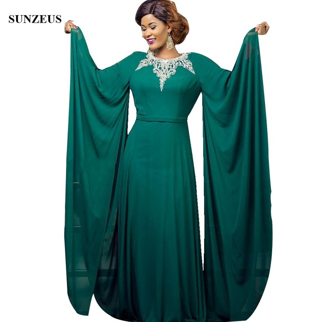 d4db9fcb1afe Maxi Long Sleeve Mother Of The Bride Dress Green Chiffon Saudi Arabic  Caftan Beaded Neckline Women Party Gowns For Wedding CM092