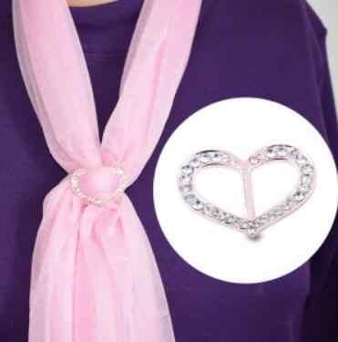 B 007 2018 Seksi Penjualan Kristal Jantung Syal Logam Jantung Berbentuk Gesper Klip Logam Ikat Kepala Syal Perhiasan Perhiasan Wanita aksesoris