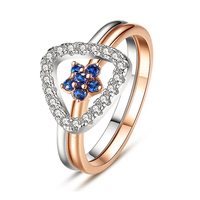 EVOJEW Luxurious Wedding Geometric And Flower Cubic Zirconia Ring Sets 925 Sterling Silver Rose Gold Color