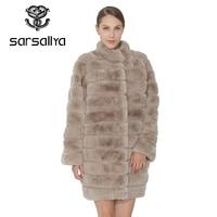SARSALLYA Women Natural Rex Rabbit Fur Coat Winter Warm Thick Female Coats Real Fur Overcoat Women Clothing