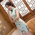 TIC-TEC chinese cheongsam short qipao women summer flower print modern slik formal tradicional oriental sexy dresses P3281