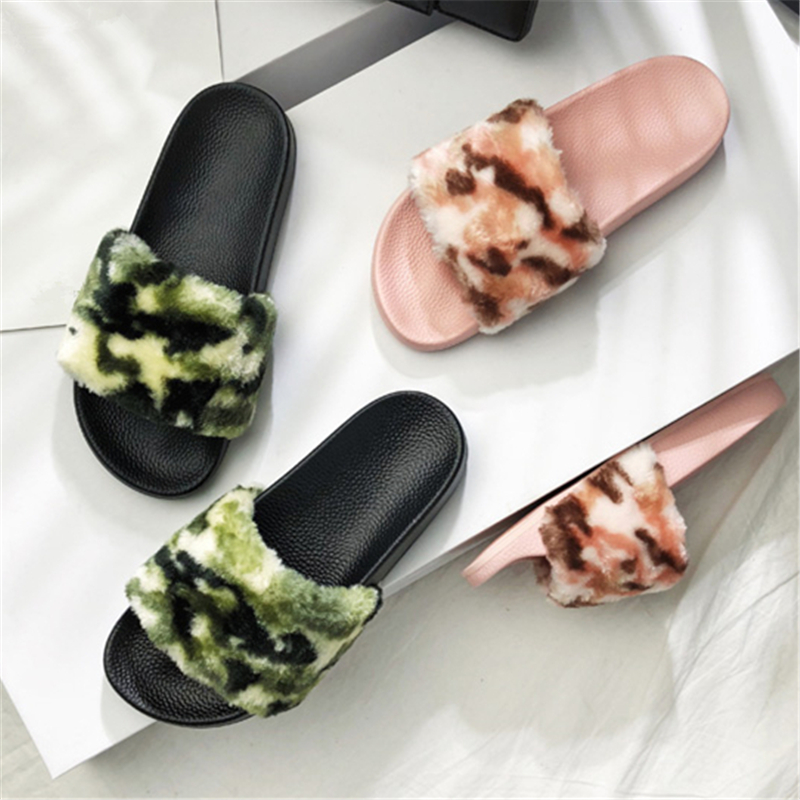 D'été Eunice Fourrure Eva Épaisse Vert Faux Choo Diapositives Camouflage Rose Femmes Avec Pantoufles Semelle Sandales A Fausse Pour Les b Bohême dp0xtqw
