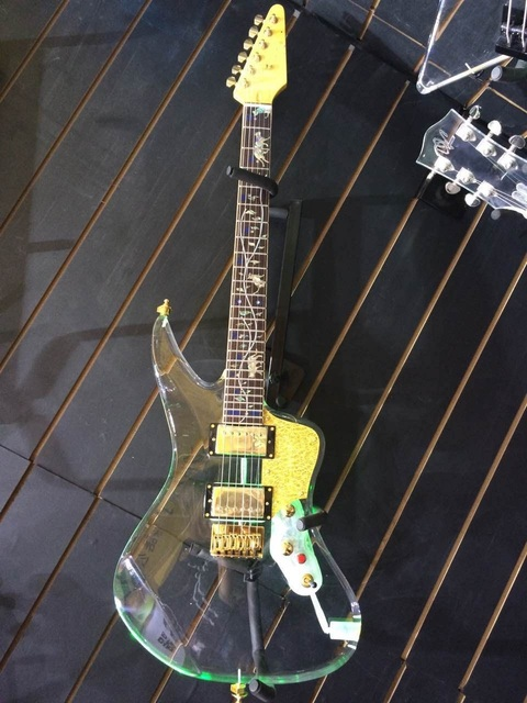 high end crystal body electric guitar with led light abalone inlay