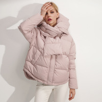 2018 Short Women's Winter White Duck   Down     Coat   And thin cotton padded jacket Autumn Jacket Stylish Hooded Collar Outwear Z5832