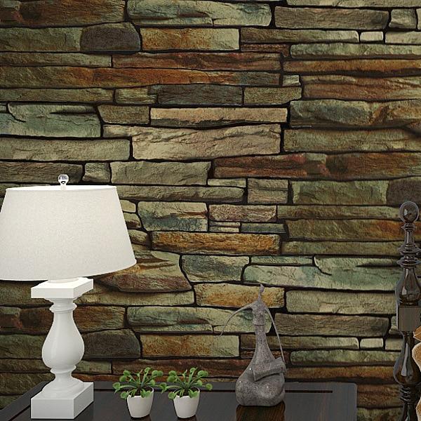 3D 10M Wallpaper Retro Culture Brick Stone Rock Faux