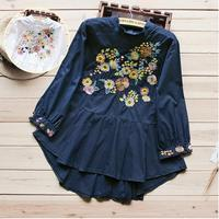 MUMUZI long sleeve stand collar women blouses retro style flower embroidery women clothing korea loose mori girl irregular tops
