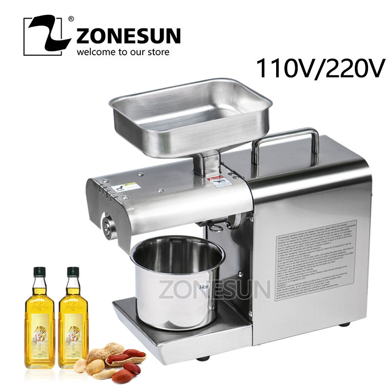 ZONESUN Stainless Steel 110V Or 220V For Choose Seed Nut Oil Press Machine Commercial Grade Oil Extraction Expeller Presser 110v 220v commercial oil press machine for sale mini oil expeller seed oil extraction machine coconut almond sesame