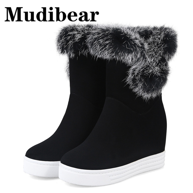 Mudibear Winter Snow Boots Woman Shoes Thick Bottom With Fur Round Toe Platform Knee High Boots Women Shoes Flat zapatos mujer karinluna women half knee snow boots rubber sole round toe platform warm fur shoes winter ladies footwear bootas mujer