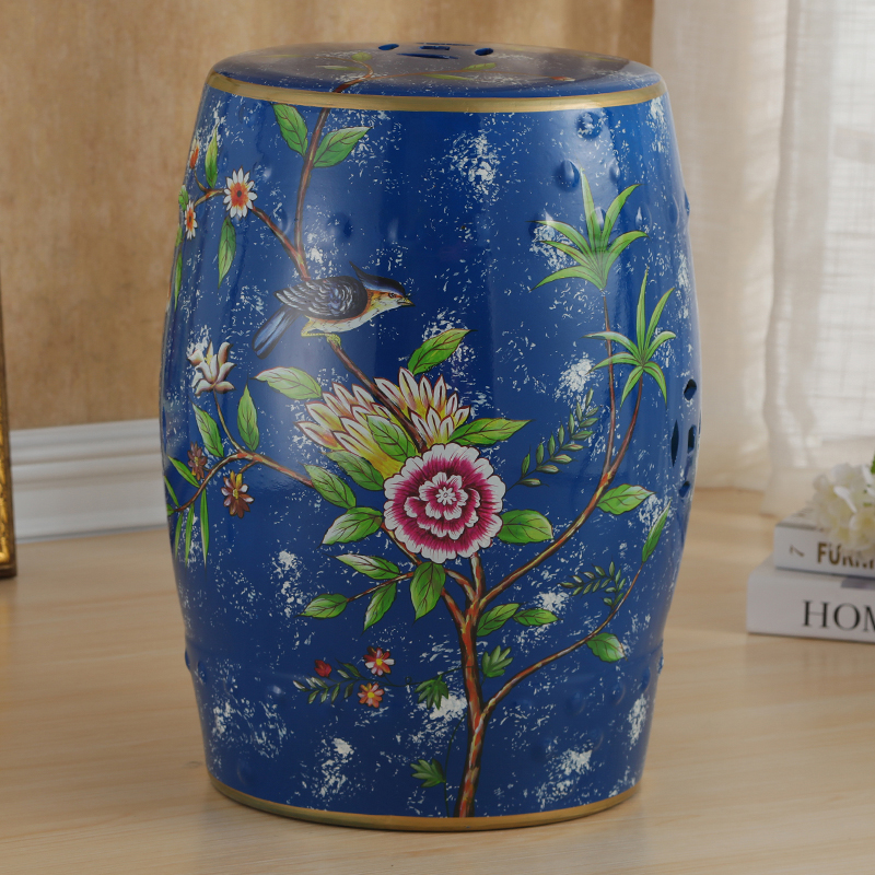 все цены на Chinese Flower and Bird Pattern Ceramic Porcelain Stool For Home Decoration онлайн