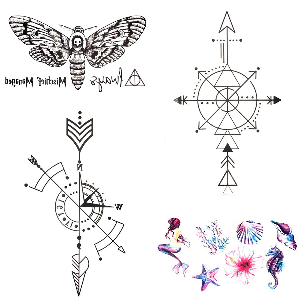 105x6cm Black Gadgets Geometric Compass Arrow Temporary Tattoo