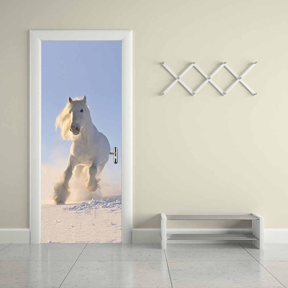 2 шт./компл. цвет Лошадь дверь Искусство Декор домашний креативный DIY 3D двери наклейки шаблон для стены в комнате домашний декор двери украшения
