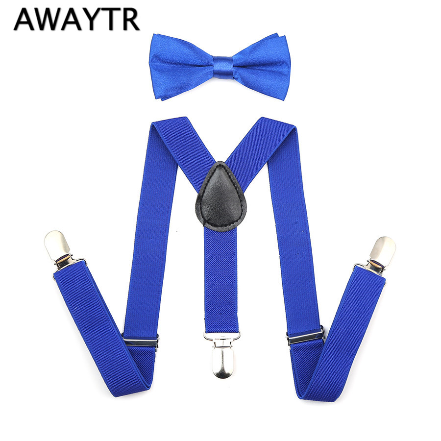 Fashion Boys Girl Children Kids Braces Suspenders Bow Tie Bow Adjustable Kid 3 Clip-on Y Back Elastic Suspenders 1 Set