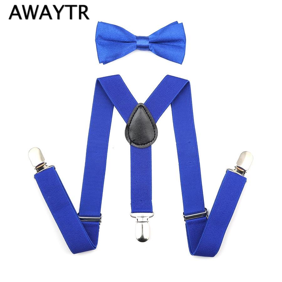 Fashion Boys Girl Children Kids Braces Suspenders Bow Tie Bow Adjustable Kid 3 Clip-on Y Back Elastic Suspenders 1 Set