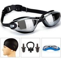 Okulary Pływackie z Pływać Cap Sprawa Nos Klip Ear Plugs garnitur Pływać Okulary Anti Fog UV Ochrona dla Dorosłych Mężczyzn kobiety